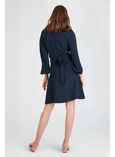 Uzun Kollu Midi Elbise-Setre